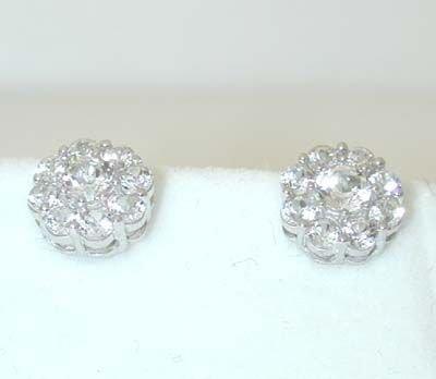 7508: 10K White Gold Cubic Zirconia Earrings