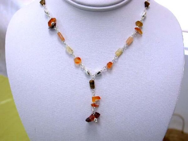 7519: Silver Necklace with Gemstones