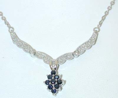 7522: 10K White Gold Diamonds/Sapphires Necklace