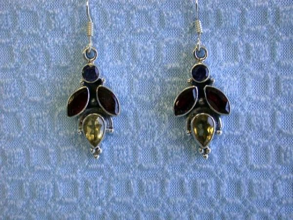 7533: Silver Earrings with Multi-colored Gemstones