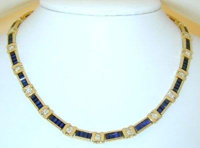 7712: CHANTECLER 18K Gold Diamonds Necklace w/Sapphi
