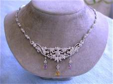 7733 18k Gold and Diamond Necklace with Amethyst and C
