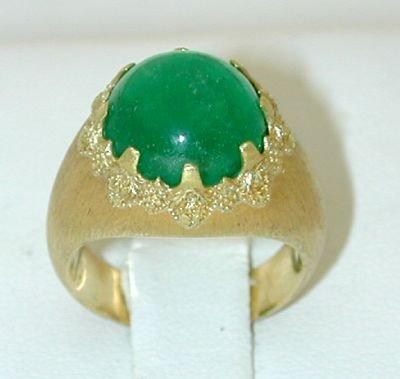7772: BUCCELLATI 18K Gold Emerald Ring