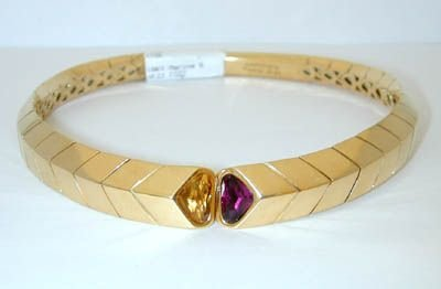 7805: MARINA B SABRINA 18K Gold Choker Necklace w/Citri