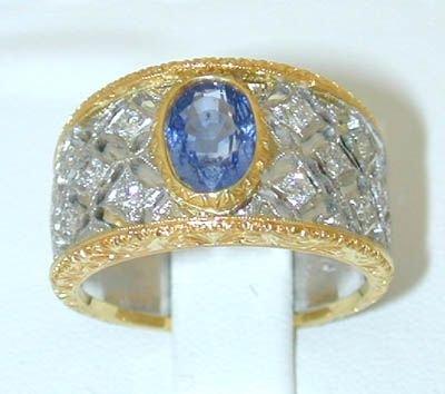 7896: BUCCELLATI 18K 2 toned Gold Diamonds Ring w/Sapph