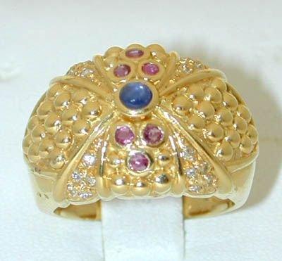 8505: 18K Gold Sapphire/Ruby/Diamond Ring