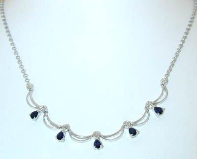 8510: 14K White Gold Diamonds/Sapphires Necklace