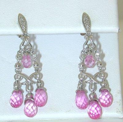 8526: 10K White Gold Diamonds Earrings w/Lab Pink Sapph