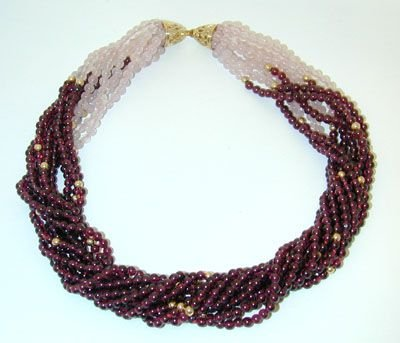 8534: 14K Gold Rose Quartz/Tourmaline Beads Necklace