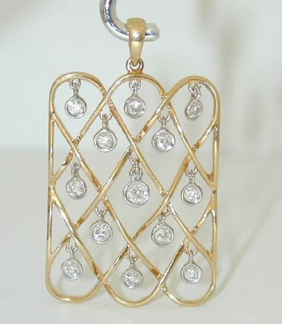 8540: 18K 2 toned Gold Dangling Diamonds Pendant