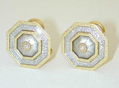 8727: Buccellati 18K Gold Diamond Earrings