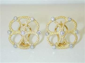 8818: Buccellati 18K Gold Diamond Earrings