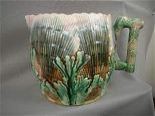 821: Majolica Etruscan Shell & Seaweed Pitcher