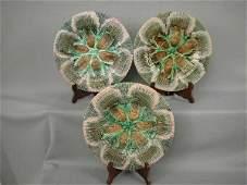 824 Majolica Etruscan Shell  Seaweed Set 3 Plates