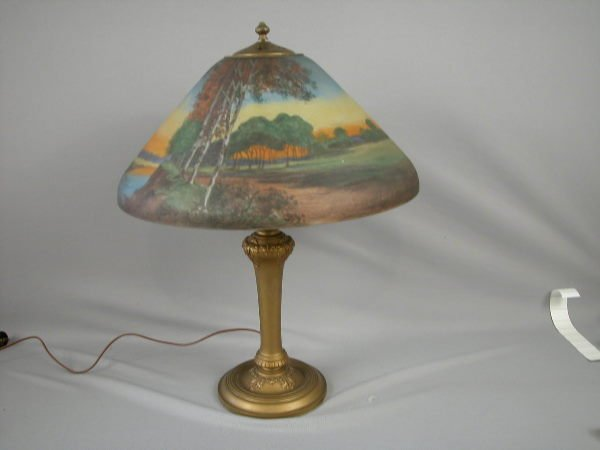115:  HANDEL Reverse Painted Table Lamp, SIGNED