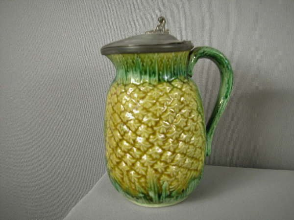 510: Majolica Pineapple syrup pitcher with pewter top,