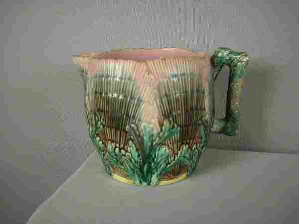 """Majolica ETRUSCAN shell and seaweed 5"""" pitcher, ri"""