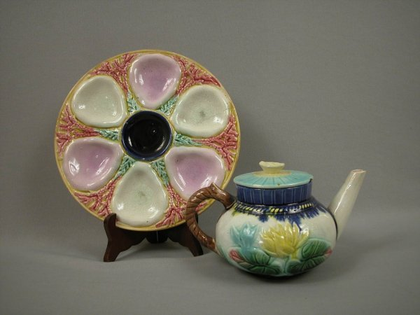 2: Majolica LEAR water lily teapot AND shell and seawee
