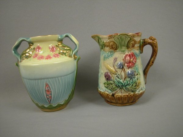 4: Majolica French floral pitcher and Sarreguemines flo