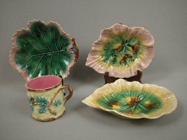 10: Majolica ETRUSCAN oak leaf mug, begonia dish and le