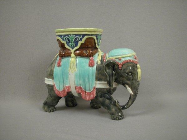 "13: Majolica Elephant figural planter, 8""h, 9 1/2""l, ch"