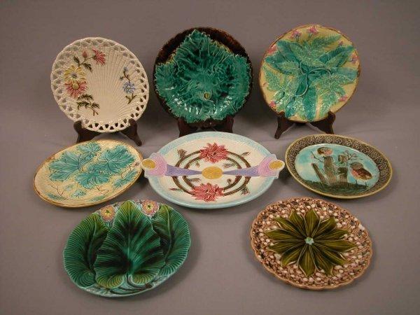 18: Majolica Majolica group of 8 plates, various patter
