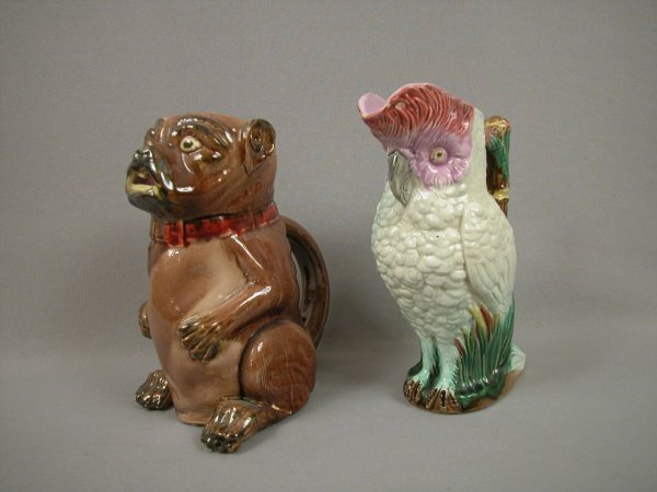 24: Majolica Figural pug dog pitcher, foot repair AND f