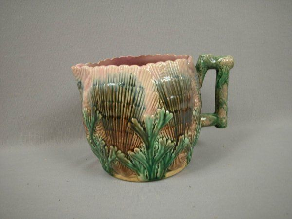 """Majolica ETRUSCAN shell and seaweed 6"""" pitcher, rim"""