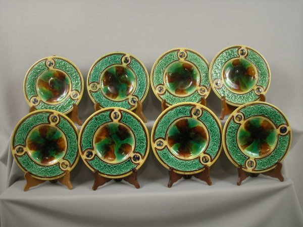 """234: Majolica Set of 8-8 3/4"""" plates with mottled cente"""