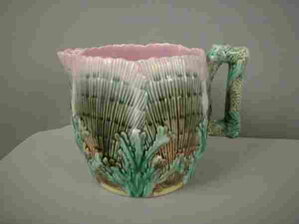 """Majolica ETRUSCAN shell and seaweed 4 3/4"""" pitcher"""
