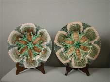 739 Majolica ETRUSCAN shell and seaweed pair of 9 14