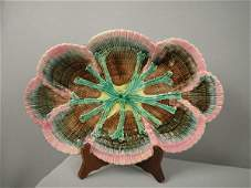 """741: Majolica ETRUSCAN shell and seaweed 14"""" platter wi"""