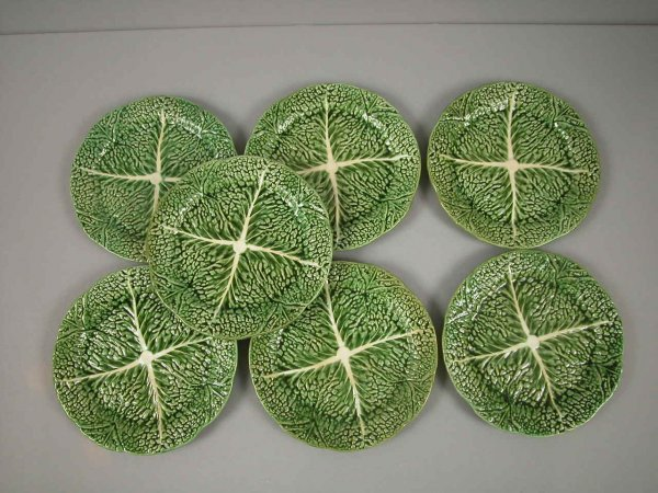 3: Lot of 7 Portugal majolica cabbage leaf plates, 8 1/