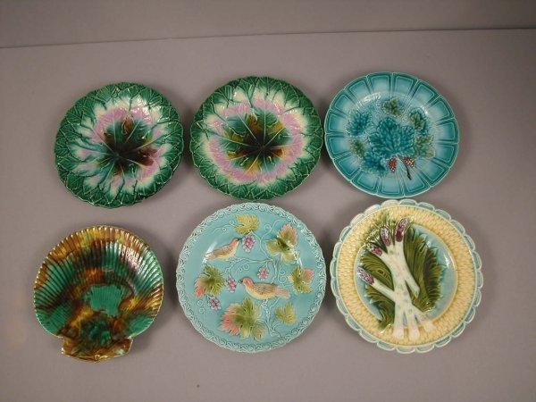 7: Lot of 6 majolica plates, various patterns and condi