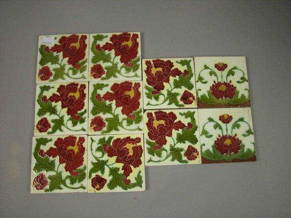 "10: Lot of 10 majolica floral tiles, 6"" x 6"", minor nic"
