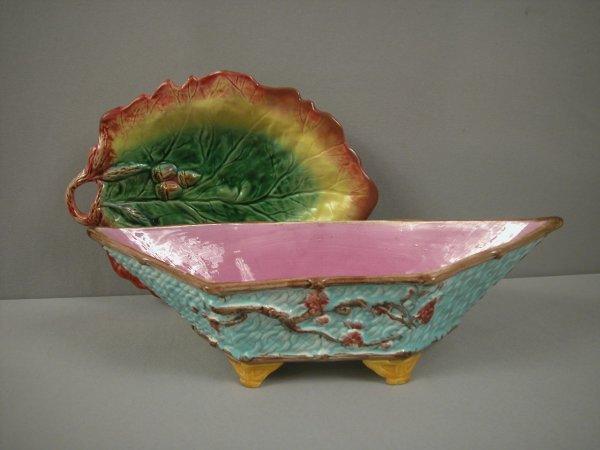 15: Oak leaf bread tray AND diamond shaped bowl, both w