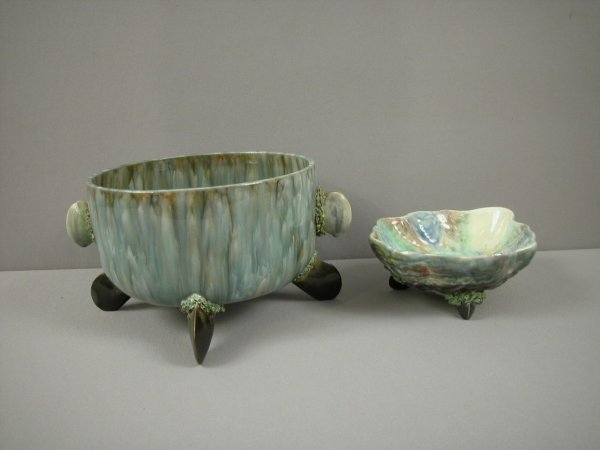 18: Palissy style large bowl with shell handles and fee