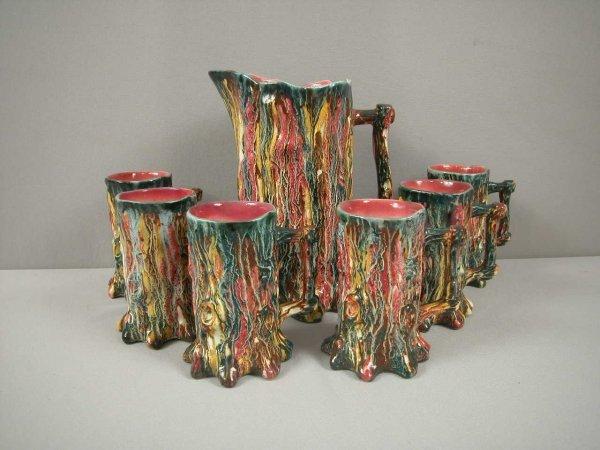 22: Multi-color tree trunk lemonade set with tankard an