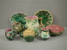 41: ETRUSCAN majolica lot of 8 pieces - rustic pitcher,