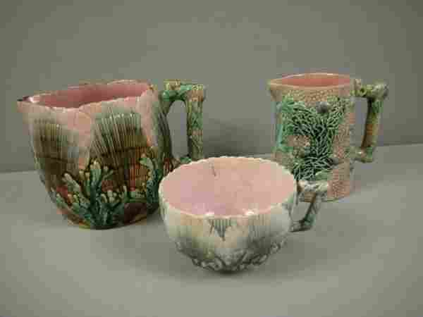 """ETRUSCAN majolica group - shell and seaweed 4"""" pit"""