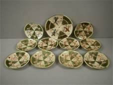 173: WEDGWOOD set of Argenta bird and fan with prunus p