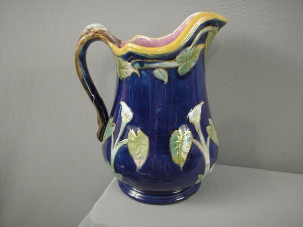 231: Cobalt calla lily majolica pitcher with gold accen