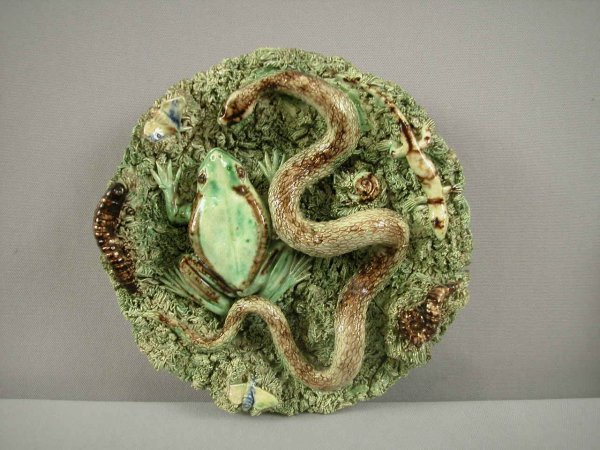 695: JOSE CUNHA Portugal Palissy Ware plaque with snake