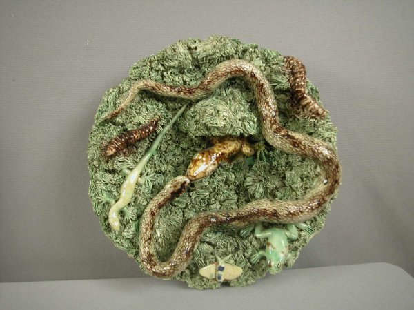 696: JOSE CUNHA Portugal Palissy Ware plaque with snake