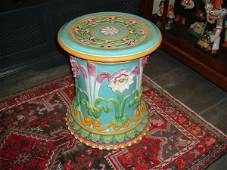 834A: MINTON turquoise majolica Passion Flower garden s