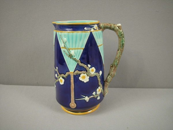 887: WEDGWOOD majolica cobalt fan and prunus pitcher, g