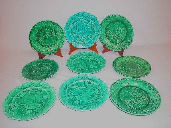 8: Majolica Dark Green Dessert Plates