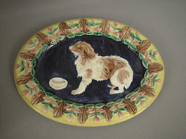 17: Majolica Rare Dog Platter