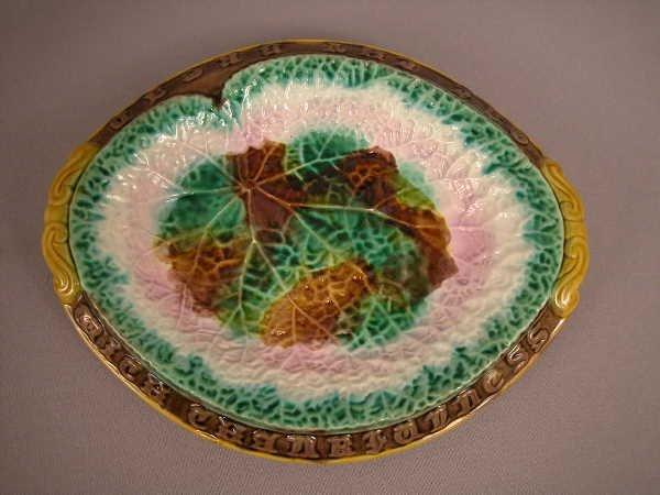 22: Majolica Begonia Leaf Bread Tray