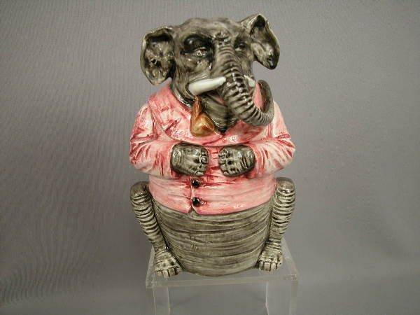110: Majolica Elephant Figural Humidor